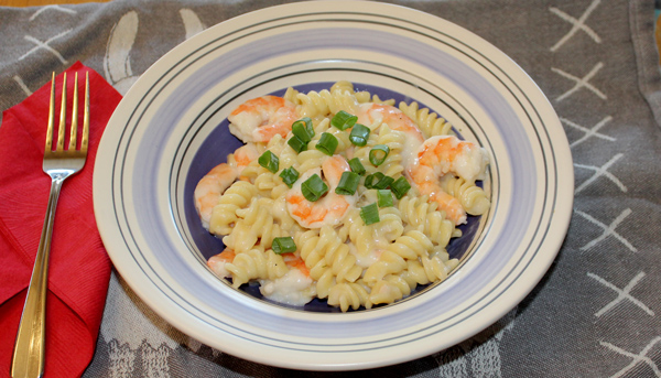 Shrimp and Pasta in a White Wine Cream Sauce