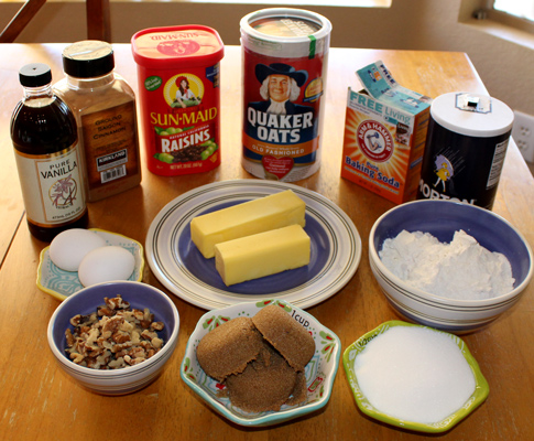 Ingredients for Oatmeal Raisin Cookies with Walnuts