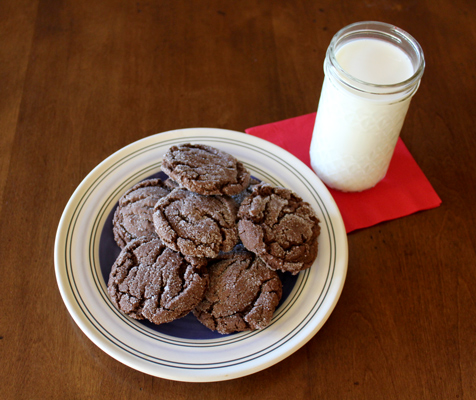 Chocolate cookies topped with sugar