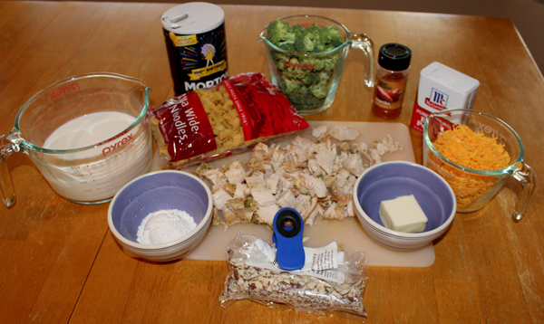 Ingredients for Chicken Noodle and Broccoli Casserole