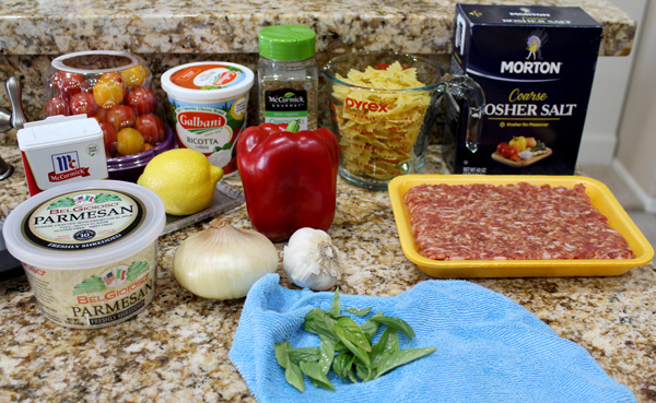 Ingredients for Italian Sausage Skillet with Pasta