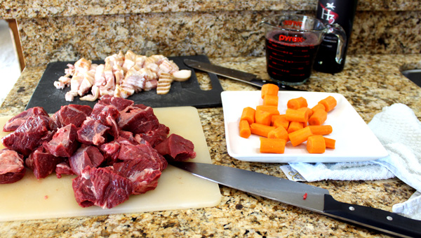 Cube meat for instant pot beef bourguignon