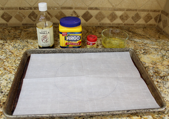 Draw a circle on the parchment paper