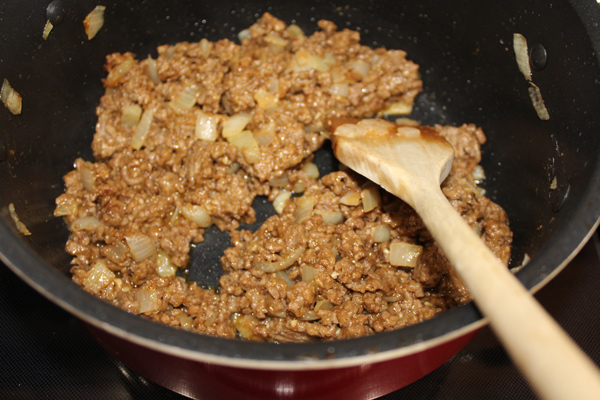 Add flour and paprika to ground beef