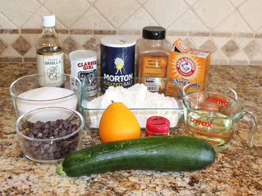 Ingredients for Chocolate Chip Zucchini Bread