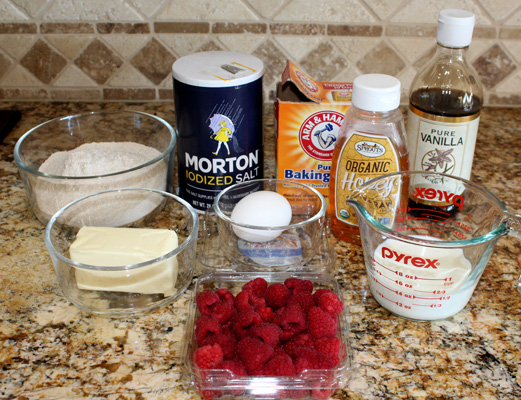 Ingredients for Whole Wheat Raspberry Muffins