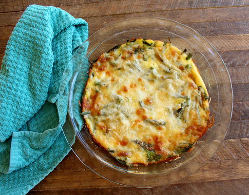 Crustless asparagus and spinach quiche
