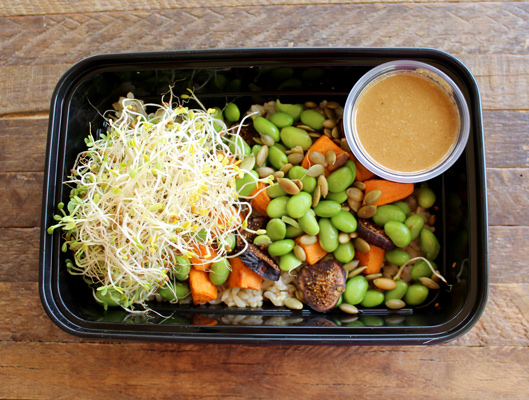 Edamame and sweet potato Buddha bowl