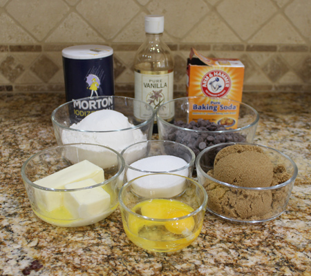 Ingredients for Giant Chewy Chocolate Chip Cookies