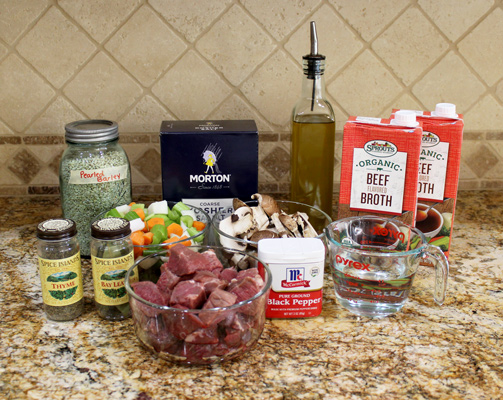 Ingredients for Instant Pot Beef and Barley Soup