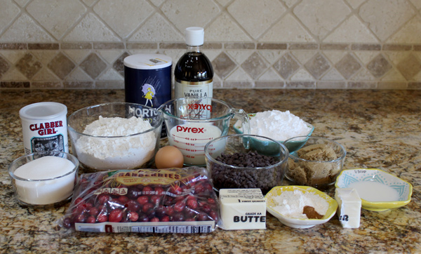 Ingredients for cranberry chocolate chip bread