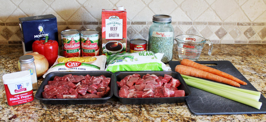 Ingredients for Slow Cooker Vegetable Beef Barley Soup