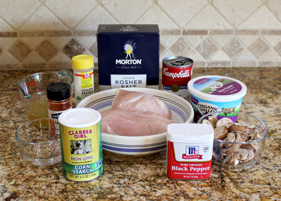 ingredients for slow cooker chicken breasts with creamy mushroom sauce