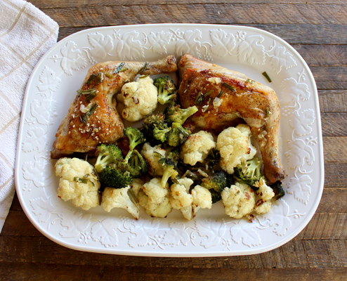 Sheet Pan Chicken Quarters with Vegetables
