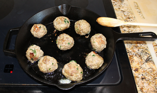fry the meatballs on all sides until lightly browned but not cooked through