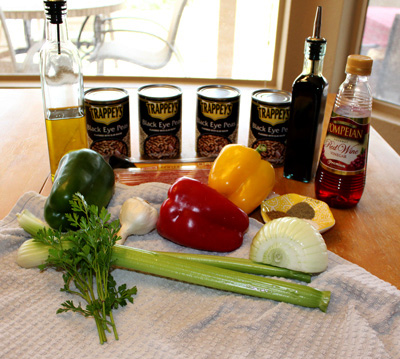 Ingredients for New Year's Hoppin' John Salad